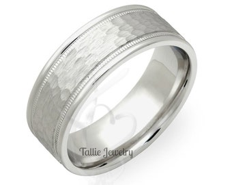 Mens White Gold Wedding Bands, Milgrain Hammered Finish  Mens Wedding Rings, 7mm 10K 14K 18K White Gold Mens Wedding Bands
