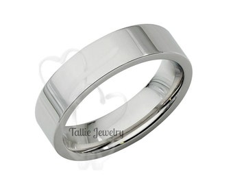 Mens Platinum Wedding Bands, Mens Platinum Wedding Rings,His & Hers Wedding Bands, 5mm Shiny Finish Flat Platinum Mens Wedding Bands