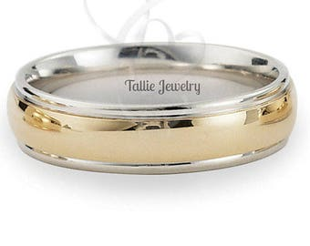 10K  Two Tone Gold Wedding Band Men