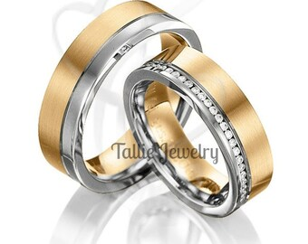His & Hers Wedding Rings, 14K Solid White and Yellow Gold Diamond Wedding Bands, Matching Wedding Rings Set, His and Hers Wedding Bands