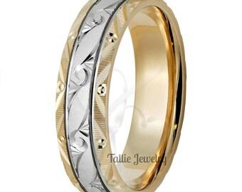 Hand Engraved Platinum Mens Wedding Band,  Platinum Mens Wedding Ring, Two Tone Gold Wedding Bands, Platinum & 18K Yellow Gold Wedding Rings