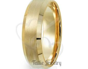 Mens Yellow Gold Wedding Bands, 6mm 10K 14K 18K Solid Gold Mens Wedding Ring, Beveled Edge Satin Finish Mens Wedding Band