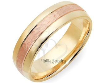 Hammered Finish Two Tone Gold Wedding Bands,  7mm,10K 14K 18K Yellow and Rose Gold Mens Wedding Rings, Two Tone Gold Mens Wedding Bands