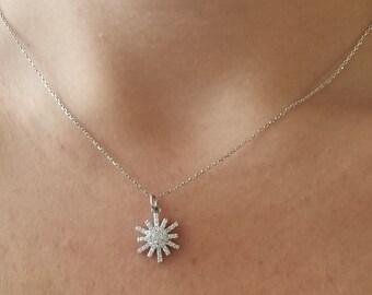 14K Gold Diamond Snowflake Necklace /  Diamond Necklace / Diamond Snowflake Necklace