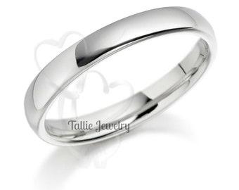 14K White Gold Wedding Bands,  Shiny Finish Mens  and Womens Wedding Rings, Matching Wedding Bands, His & Hers Wedding Rings