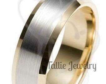 Platinum & 18K Solid Yellow Gold Mens Wedding Band, Platinum Mens Wedding Ring, Satin Finish Beveleed Edge Platinum Wedding Band