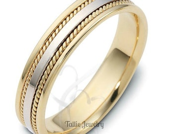5mm 10K 14K 18K Solid White and Yellow Gold Mens Womens Wedding Ring, Two Tone Gold Wedding Bands, Handmade Braided Wedding Ring