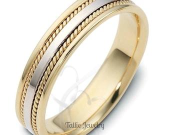 Platinum Wedding Band for Men & Women , Handmade Rope Braided Wedding Ring, Two Tone Gold Wedding Bands