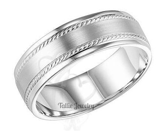 7mm 10K 14K 18K Solid White Gold Wedding Bands, Milgrain Wedding Rings, Satin Finish Mens Wedding Bands