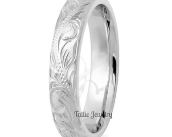 Hand Engraved Mens Wedding Ring,  4mm 14K White Gold Hand Engraved Mens Wedding Band, His & Hers Wedding Rings