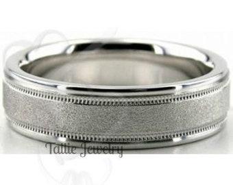 950 Platinum Mens Wedding Band,  Platinum Mens Wedding Ring , 6mm  Platinum Band,  Milgrain Stone Finish Platinum Ring