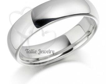 14K Solid White Gold Wedding Band, 6mm Shiny Finish Mens Wedding Ring,  Plain Mens Wedding Band
