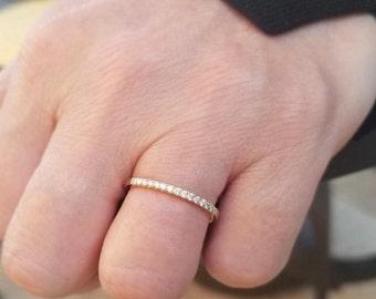 14K Yellow Gold Diamond Wedding Band, Womens Diamond Wedding Ring, Diamond Eternity Wedding Band, Micro Pave Thin Wedding Band
