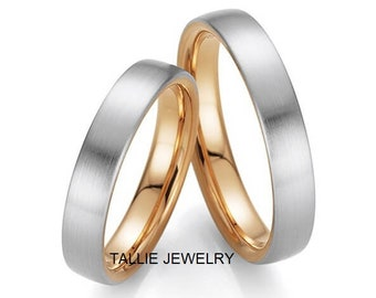 His & Hers Wedding Rings, Matching Wedding bands, 10K 14K 18K Solid White and Yellow Gold Wedding Rings Set, Two Tone Gold Wedding Bands