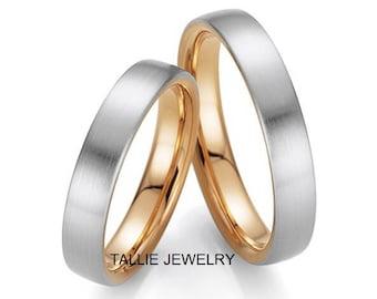 Platinum and 18K Yellow Gold Wedding Bands, His & Hers Wedding Rings, Two Tone Gold Wedding Bands, Matching Wedding Rings Set