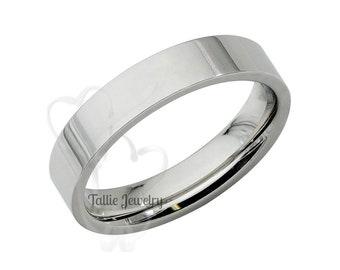 Platinum Wedding Band, 4mm Flat Platinum Wedding Ring, Platinum Mens Womens Wedding Bands