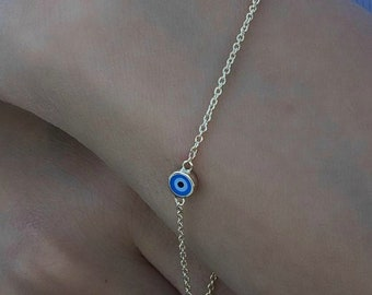 14K Solid Yellow Gold Evil Eye Bracelet,  Evil Eye Bracelet, Dainty Evil Eye Bracelet , Evil Eye Protection Bracelet, Gold Evil Eye Bracelet