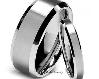 Platinum His & Hers Wedding Rings, Matching Wedding Bands, Platinum Wedding Rings, Shiny Finish Beveled Edge Platinum Wedding Bands