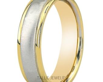 Mens Platinum Wedding Band,  Platinum Wedding Ring , Two Tone Gold Wedding Bands, 950 Platinum & 18K Solid Yellow Gold Mens Wedding Bands