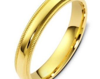4mm 14K Solid Yellow Gold Wedding Bands, Milgrain Shiny Finish Mens and Womens Wedding Rings,Matching Wedding Bands,His & Hers Wedding Rings