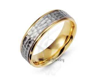 Two Tone Mens Wedding Bands, Hammered Finish Mens Wedding Rings, 6mm 14K Solid White and Yellow Gold Wedding Bands, His & Hers Wedding Rings