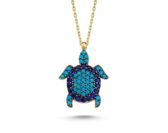 14K Gold Turtle Necklace / Turquoise Stones Sea Turtle Necklace / Solid Yellow Gold Turquoise Necklace