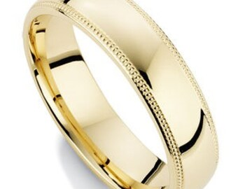 5mm 14K Solid Yellow Gold Wedding Bands,  Shiny Finish Milgrain Mens and Womens Wedding Ring