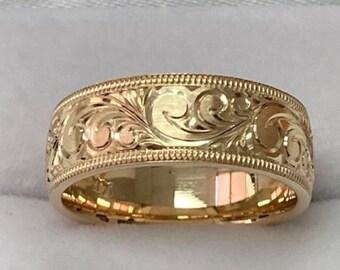 Hand Engraved Mens Wedding Bands, Hand Engraved Mens Wedding Rings, 7mm 10K 14K 18K Solid Yellow Hand Engraved Wedding Bands