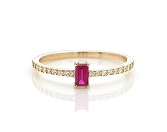 14K Gold Ruby Ring,  Diamond Eternity Ring, 14K Solid Yellow Gold Diamond and Ruby Ring, Diamond Eternity Wedding Ring, Diamond Wedding Band