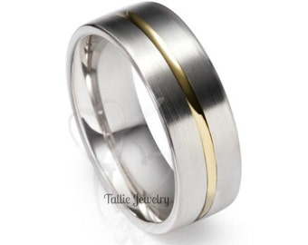 Two Tone Wedding Bands,6mm 10K 14K 18K Solid White and Yellow Gold Mens and Womens Wedding Rings, Two Tone Gold Wedding Bands