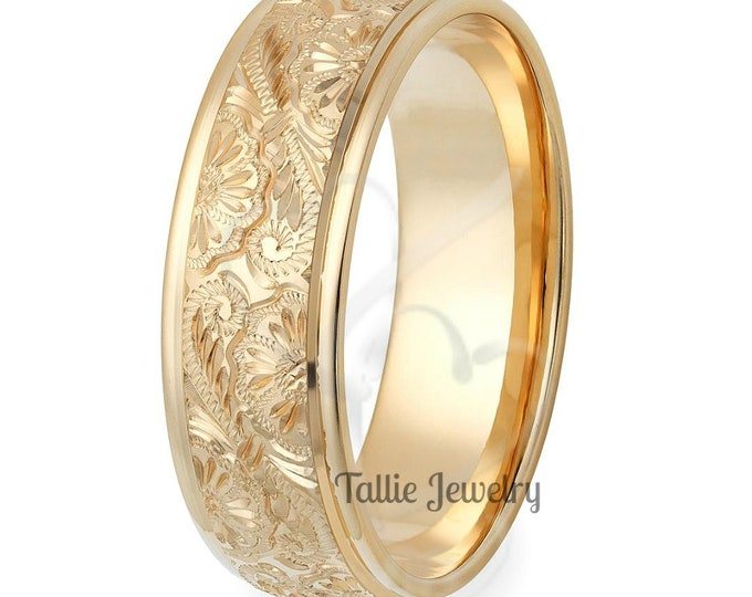 Featured listing image: Hand Engraved Mens Wedding Bands, 7mm 10K 14K 18K Yellow Gold Mens Wedding Rings, Hand Engraved Wedding Bands, His & Hers  Wedding Rings
