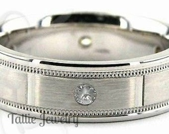 Mens White Gold Wedding Bands, 6mm 10K 14K 18K Solid Gold Diamond Mens Wedding Ring, Milgrain Satin Finish Mens Diamond Wedding Band
