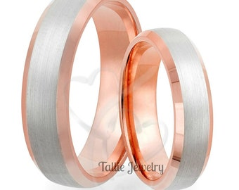 His & Hers Wedding Bands, Matching Wedding Rings Set, Two Tone Gold Wedding Bands, 14K White and Rose Gold Wedding Bands