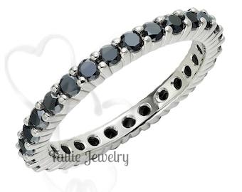 Black Diamond Eternity Ring, 14K White Gold Womens Wedding Bands, Black Diamond Wedding Rings
