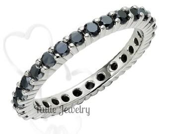 Black Diamond Eternity Ring / 14K White Gold Wedding Band /  Diamond Eternity Wedding Ring / Eternity Wedding Band