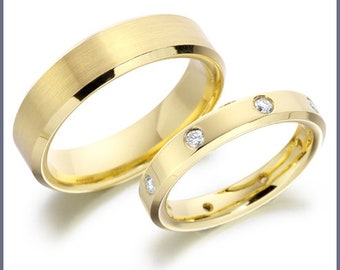 His & Hers Wedding Rings , Matching Wedding Bands , 10K 14K 18K Solid Yellow Gold Mens Womens Wedding Rings, Diamond Wedding Bands