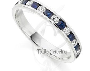 Diamond Eternity Rings, Diamond Eternity Wedding Bands, Blue Sapphire Diamond Wedding Rings, 14K White Gold Womens Diamond Wedding Bands