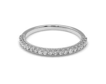14K White Gold Diamond Wedding Ring /  Womens Diamond Wedding Band /  Diamond Eternity Rings / Anniversary Wedding Bands