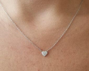 Diamond Heart Necklace / 14K Gold Heart Necklace / Dainty Heart Necklace /14K Solid White Gold Diamond Heart Necklace / Heart Necklace