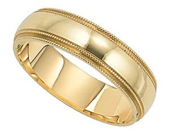7mm 10K 14K 18K Solid Yellow Gold Mens Wedding Band, Shiny Finish Double Milgrain Mens Wedding Ring