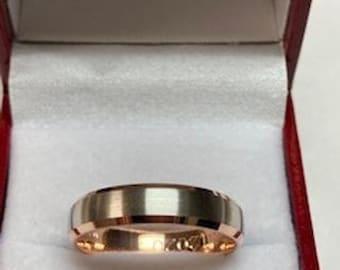 14K Solid Rose Gold and Platinum Wedding Band, Platinum Wedding Ring, Satin Finish Beveled Edge Mens Wedding Bands, 950 Platinum Band