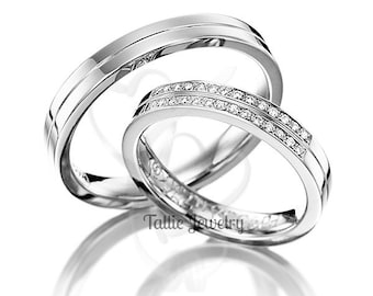 Platinum His Hers Rings Talliejewelry