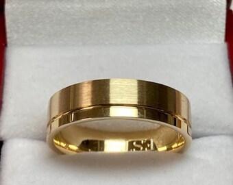 Mens Yellow Gold Wedding Band, Satin Finish Mens Wedding Ring, 6mm 10K 14K 18K Solid Yellow Gold Wedding Band