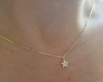 Diamond Star Necklace / 14K Solid Yellow Gold Diamond Star Necklace / Small Star Necklace