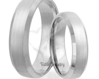 Matching Wedding Rings, His & Hers Wedding Bands, Satin Finish Beveled Edge Platinum Wedding Rings,  Platinum Wedding Bands