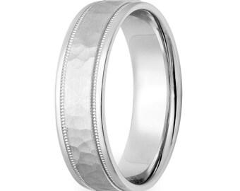 950 Platinum Wedding Band,  Platinum Mens Wedding Ring , 6mm Hammered Finish Platinum Mens Wedding Bands