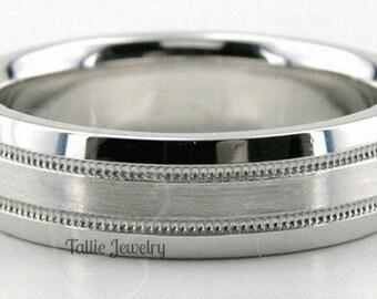 950 Platinum Band,  Platinum Mens Wedding Rings, 6mm Satin Finish Milgrain Platinum Mens Wedding Bands