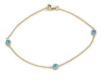 14K Solid Yellow Gold Evil Eye Bracelet, Evil Eye Bracelet, Tiny Evil Eye Bracelet, Dainty Evil Eye Bracelet, Light Blue Evil Eye Bracelet