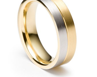 14K Gold Mens Wedding Band, Satin Finish Mens Wedding Ring, Two Tone Gold Wedding Bands, 10K 14K 18K Solid White & Yellow Gold Wedding Rings
