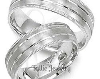 10K 14K 18K Solid White Gold Mens Womens Wedding Rings Set, Matching Wedding Bands, His & Hers Wedding Rings